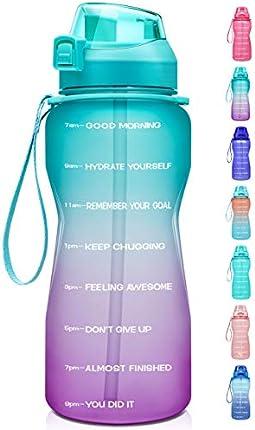Fidus - Botella de agua grande (64 oz) con marcador de tiempo y pajita, a prueba de fugas, sin BPA, te aseguras de beber suficiente agua a diario para fitness, gimnasio y deportes al aire libre