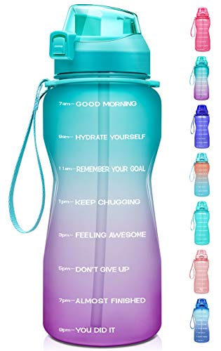 Fidus Large Half Gallon/64oz Motivational Water Bottle with Time Marker & Straw