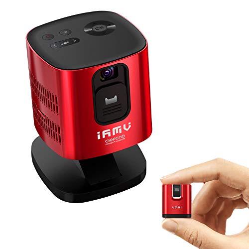 Ultra Mini Proyector Portátil, HD LED Proyector Altavoz Incorporado, Calidad y Brillo de Imagen Full HD, Altavoz Estéreo de 360 ° y Función Bluetooth, Compatible con Dispositivos IOS y Android,Rojo