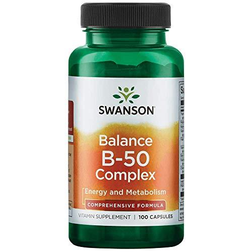 Swanson B-50 B-Complex Vitamins Energy Cardio Stress Metabolism Support 100 Capsules (Caps)
