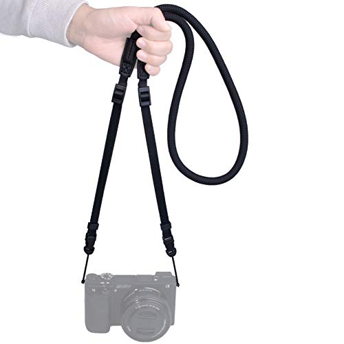 VKO Mirrorless Camera Neck Strap Compatible with Sony A6600 A6100 A6400 A6000 A6300 A6500 RXIRII RX10IV X100F X-T30 X-T4 X-T3 X-T20 X-T2 Cameras Adjustable Climbing Rope Shoulder Strap Black