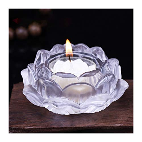 FENCHUN Crystal Glass Lotus Flower Candle Tea Light Holder Candlestick Wedding Bar Party Valentine's Day Decor (Color : White)