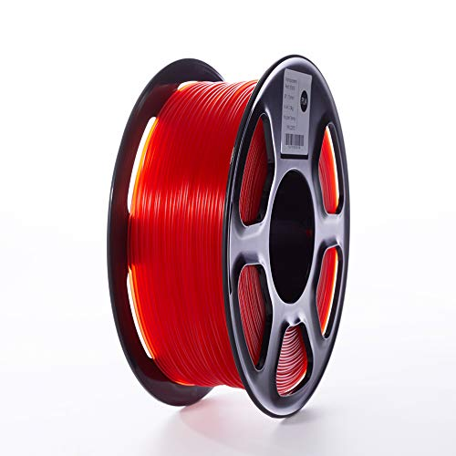 TOPZEAL Filamento stampante 3D, filamento PLA di colore trasparente serie 1,75 mm, precisione dimensionale +/- 0,02mm, bobina 1KG per stampante 3D e penna 3D (Transparent-Red)