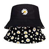 yujianni Small Daisy Embroidery Fisherman Hat Double-Sided Wearable Bucket Hat Summer Outdoor Sunshade Sunscreen Hat Casual Hats,Black