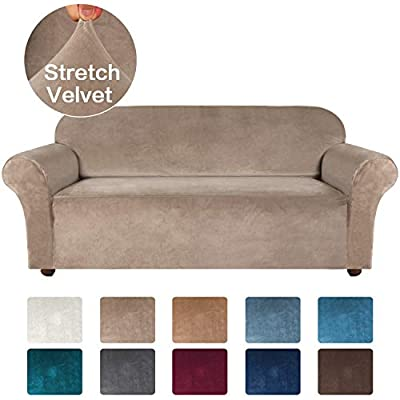 Turquoize Velvet Sofa Slipcover Stretch Couch Covers for 3 Cushion Couch Thick Soft Sofa Cover with Non Slip Straps Furniture Protector, Couch Covers for Dogs, Form Fit Couch Slipcover (Large, Taupe)