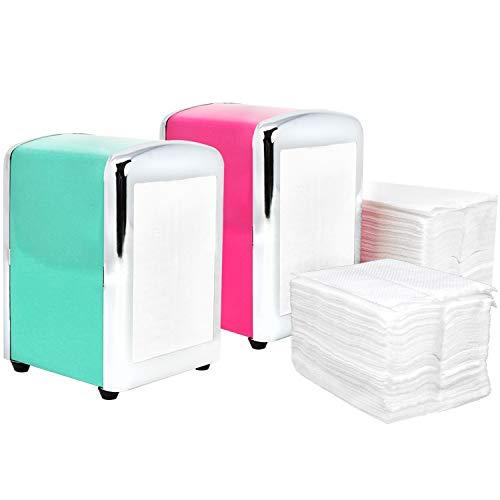 COM-FOUR® 2 servetdispensers + 200 servetten, voor keuken + tuin of direct aan de eettafel [kleur varieert] (02 stuks - servetdispenser + navulverpakking)