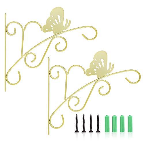 Richaa 2 soportes de pared para plantas, ganchos colgantes de mariposa con 4 tornillos de fijación para cesta, macetas, farolillos y casetas de pájaros (dorado)