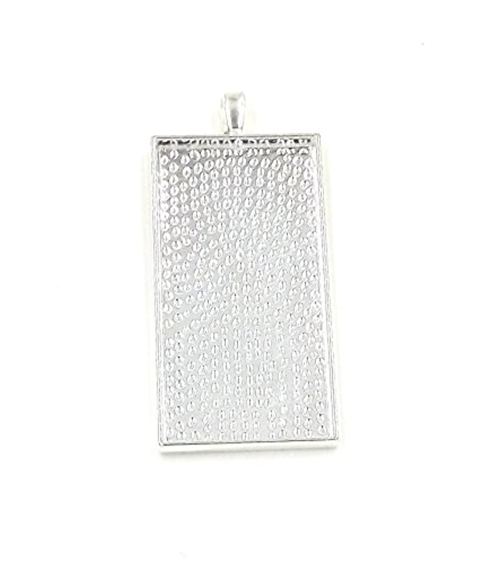 50 Rectangle Pendant Trays - Silver Color - 25X50mm - Pendant Blanks Cameo Bezel Settings Photo Jewelry - Custom Jewelry Making Deannassupplyshop