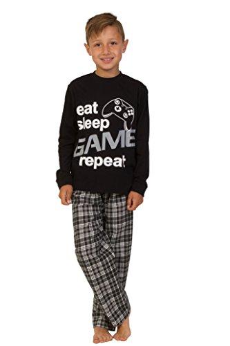 The Pyjama Factory Boys Eat Sleep Spiel wiederholen Pyjamas 9 bis 13 Jahre Gamer PJs Black (11-12 Jahre)