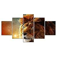 輝く線のあるライオンの動物5パネルの壁の芸術の絵画はキャンバスに印刷します家の写真現代の装飾印刷装飾