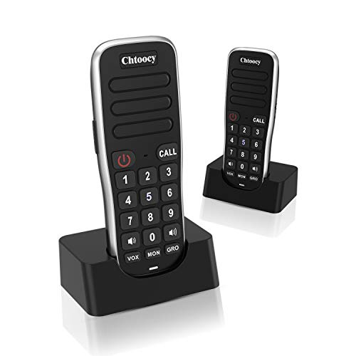 Chtoocy Rechargeable Intercoms Wireless for Home 1 Mile Range 10 Channel, Handheld Wireless Intercom System for Home Business Office, Home Room to Room Communication System (2 Packs, Black)