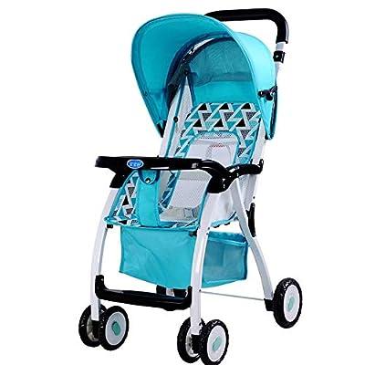 Baby Stroller Carrito de bebé Carro de bebé portátil Ligero Plegable Puede Sentarse/reclinarse (Color : Green)