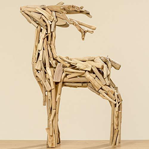*Boltze Hirsch Figur Treibholz Skulptur Weihnachtsdeko Natur 70cm*