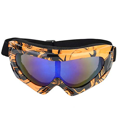 Sneeuw skibril, professionele enkele lens UV-bescherming sport skibril (oranje zwart)