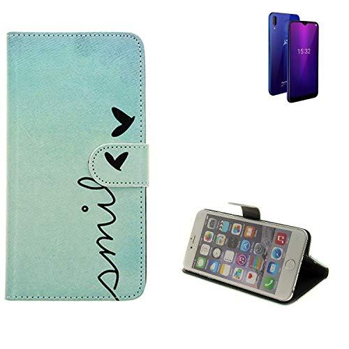 K-S-Trade® Schutzhülle Für Allview Soul X6 Mini Hülle Wallet Case Flip Cover Tasche Bookstyle Etui Handyhülle ''Smile'' Türkis Standfunktion Kameraschutz (1Stk)