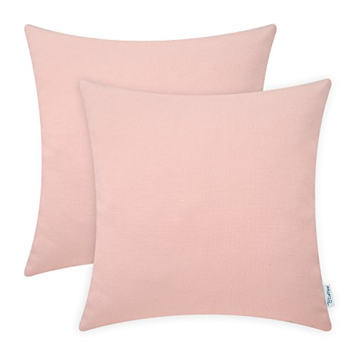 CaliTime Pack of 2 Throw Pillow Covers Cases for Couch Sofa Home Decoration High Class Faux Linen Solid Color 18 X 18 Inches Dusty Pink