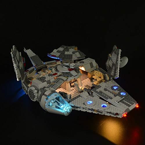 FADF Juego de luces LED bonito complemento para Lego Star Wars Millennium Falcon Disney Starship, kit de luz compatible con Lego 75257 (modelo Lego no incluido)