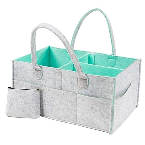 FSHB Baby Nappy Caddy Organizer - Nursery Storage Bin Baby Shower Basket, Grey, S