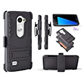 for LG Leon LTE/ C40/ Destiny L21G/Power L22C/ LG Sunset L33L/ LG Tribute 2/ H340N Black Case Belt Clip Holster Guard Cover with Kickstand and Dual Layer Protection (Black)