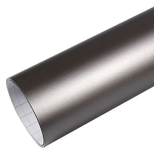 TipTopCarbon 8,55€/m² Autofolie Matt Grau Metallic 152cm breit Blasenfrei Autofolie selbsklebend mit Luftkanäle 3D Flex Folie Auto