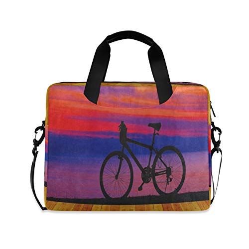Oil Painting Vintage Wooden Sunrise Bike Laptop Carrying Case Shoulder Bag Briefcase W/Strap Women Men 15.6' 16'