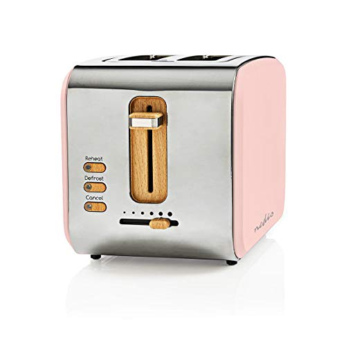 Nedis - Toaster - 2 breite Öffnungen - Soft-Touch - 6 verschiedenen Stufen - Auftau- und Aufwärmfunktion - Krümelschublade - Selbstabschaltung - Abbruch-Funktion - Soft-Touch-Oberfläche - 900 W - Pink