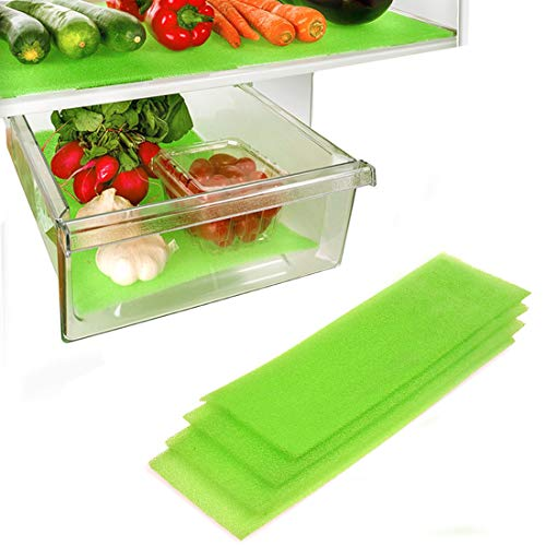Dualplex Fruit & Veggie Life Extender Liner for Fridge Refrigerator Drawers, 24 x 6 Inches (4 Pack) – Extends The Life of Your Produce & Prevents Spoilage