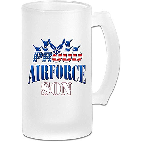Orgoglioso figlio dell'aeronautica cristalleria per bar stampato 16.9 oz vetro smerigliato boccale di birra tazza con manici bicchiere di succo di bevanda