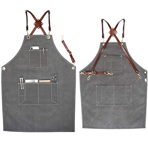WQYH Leinwand Latzschürze mit 3 Taschen , Künstler/Malen/Laden/Küche Kochen/Restaurant Frauen und Männer Schürze MB