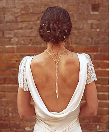AGVTUO Moda Espalda Cadena Plata Cadena Perla Gargantilla Collar Mujeres Collar joyería Nupcial