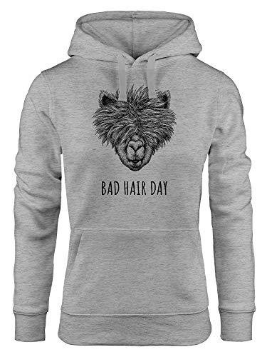 MoonWorks Damen Hoodie Lama Bad Hair Day Spruch Llama Alpaka Statement Kapuzen-Pullover grau L