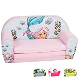 DELSIT Toddler Couch & Kids Sofa - European Made Children's 2 in 1 Flip Open Foam Double Sofa - Kids Folding Sofa, Kids Couch - Comfy fold Out Lounge (Mermaid)