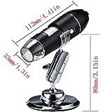 Endoscopio de magnización 1000X, 8 LED Microscopio Digital USB, microscopio de Bolsillo, Minicamera portátil de Mano con Soporte de Metal, Compatible con Mac Window 7 8 10 Android Linux