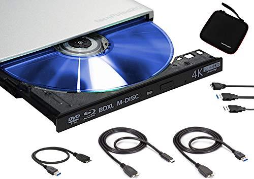 techPulse120 Externes UltraHD UHD 4k 3D M-DISC BDXL HDR10 100GB USB 3.0 und USB-C Laufwerk Bluray Brenner Burner Superdrive UltraSlim BD DVD CD Ultra Paket Tasche 90cm Anschlusskabel Aluminium Silber