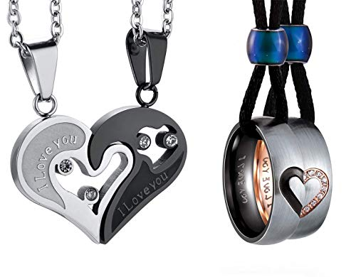FIBO STEEL I Love You Couples Matching Puzzle Necklaces for Him and Her Valentine Girlfriends Boyfriends Gifts Jewelry Set