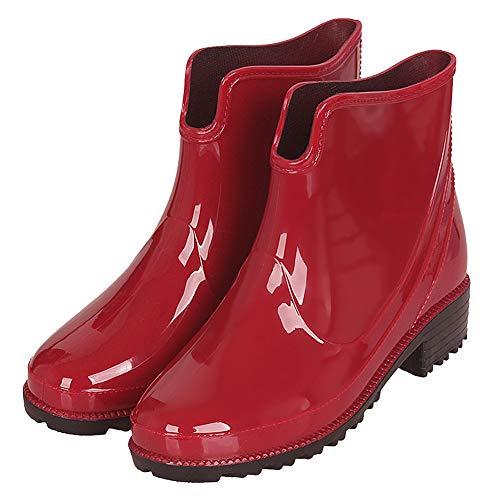 Botas Agua Cortas Goma Impermeables Botas de Lluvia para Mujer Botines Chelsea de Goma Outdoor Antideslizante Negro Azul Rojo