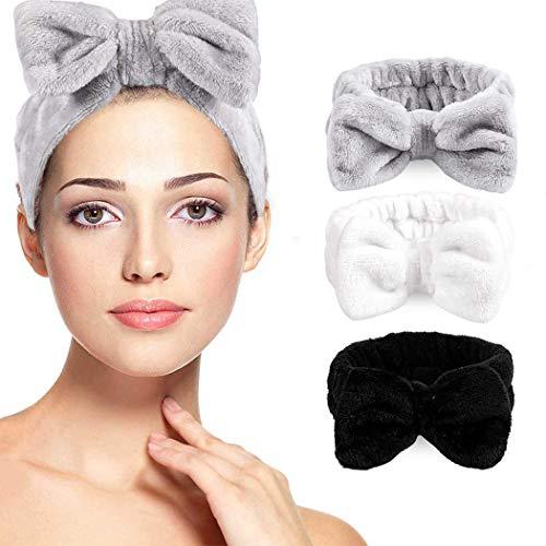 Sayiant 3 Stück Spa-Haarbänder mit Schleife, weiche Koralle, elastisches Kopfband zum Waschen von Gesicht Dusche Sport Schönheit Hautpflege (A)