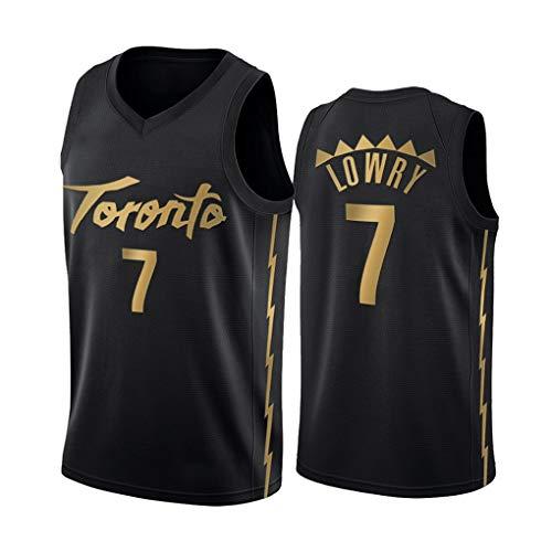 WSF Jersey # 7 Kyle Lowr, Toronto Raptors Team Champion Version, heren Basketball truien, nieuwe stof Unisex Mouwloos T-shirt, Basketbal Uniform Swingman pak zwart goud