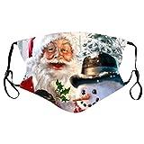 Panpany 1/5/10 Stück Weihnachtsmotiv Mundschutz für Erwachsene,Santa Geschenke Reindeer Muster Druck Bandana Waschbar Atmungsaktive Mundschutzhülle Halstuch Stoff