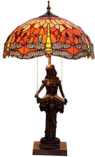 Dormitorio Light Tiffany Estilo Libélula con Patrón Rojo Lámparas de Mesa de Vidrio Retro Dormitorio Hecho A Mano Lámparas para Lavada para Sala Sala De Estudio Sala De Escritorio Iluminación Lámpara