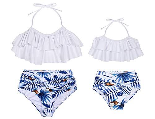 WonderBabe-Familie für kleine Mädchen Kokosnussbaum-Print 2-teilige Badeanzüge mit einfarbigem Rüschenhalfteroberteil und hoch tailliertem Unterteil-Schwimmoutfit Weiß 4-5 Jahre
