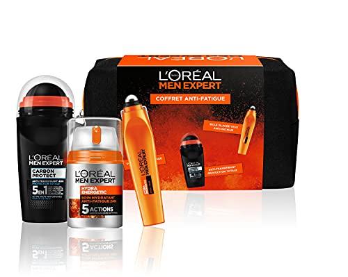 L'Oréal Paris Men Expert - Hydra Energetic - Coffret Anti-Fatigue 3 Produits - Soin Visage, Soin Yeux & Déodorant pour Homme