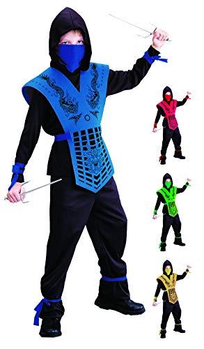 Foxxeo Costume de ninja pour enfant–Noir, rouge, vert, bleu, doré