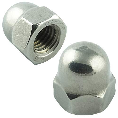 Eisenwaren2000 | M16 Sechskant-Hutmuttern hohe Form (2 Stück) - DIN 1587 - Edelstahl A2 V2A - rostfrei