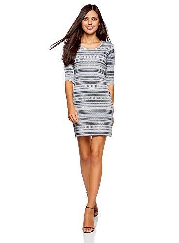 oodji Ultra Damen Jacquard-Kleid mit Geometrischem Muster, Blau, DE 36 / EU 38 / S
