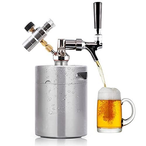 Mini Sistema De Barril De Cerveza Presurizado 5L / 158Oz, Acero Inoxidable Mini Grifo Growler Dispensador Portátil Kit De Cargador De Co2 Premium Para Cerveza Artesanal, De Barril Y Cerveza Casera