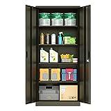 Merax Steel Storage Locker with 4 Adjustable Shelves and Lockable Doors, Multi-Layer Metal Cabinet, Dark Black