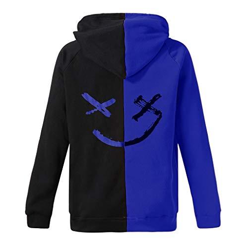 No brand Cappotto Unisex 2020 Primavera Autunno Teenager del Volto Sorridente di Moda della Stampa con Cappuccio Pullover Cuciture Colore Fun Simbolo Felpa (Color : Blue, Size : M)