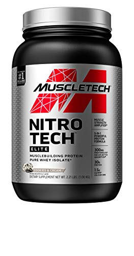 Whey Protein Isolate + Creatine Monohydrate | MuscleTech Nitro-Tech Elite | Whey Isolate Protein Powder | Protein Shakes for Men & Women | Muscle Builder | Cookies & Cream, 2.2 lbs (23 Servings)