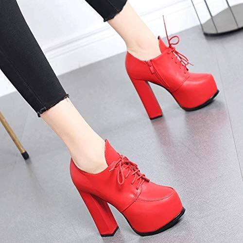 HRCxue zapatos de la Corte zapatos de Boda de plataforma a Prueba de Agua con Tacones rojos, Botines de Encaje, Botines Femeninos con botas Martin, 38, rojo